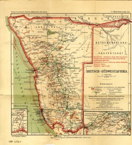 "Map of German South West Africa, 1913. The ""Red Line"" is not included on this map; at this time, the line was an arch with northern termini at Sessfontein, Namutoni, and Rietfontein. NAN Map Collection 05960"
