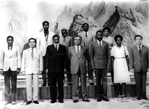 Nujoma and Namibian delegates with Kim Il Sung, DPRK. NAN 13944