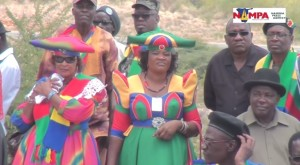 Women at the Funeral of Gerson Veii, dressed in the SWANU colors. Courtesy of Namibian Press Association, 2015.