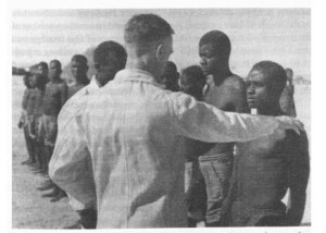 Labor Recruitment in Northern Namibia, 1953. Photo produced for Pretoria State Information Service. NAN 3270