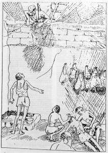 "Depiction of SWAPO's ""Hell-Hole"" dungeons in Angola. Drawn by Frederick ""Cheetah"" Gomaseb, ex-detainee (in Basson & Motinga 1989: 18)."