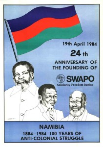 "Original Caption: ""19th April 1984. 24th Anniversary of the Founding of SWAPO."" Issued by SWAPO of Namibia in Luanda, Printed in Lusaka. NAN POCO 0343"